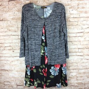Reborn Floral Dress with attached Sweater 1XL